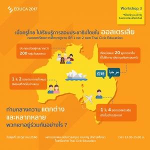 "EDUCA 2017 :WORKSHOP 3 เสวนาพิเศษในหัวข้อ ""เมื่อครูไทยไปเรียนรู้การสอนประชาธิปไตยในออสเตรเลีย: ถอดบทเรียนการศึกษาดูงาน ปีที่ 1 และ 2 ของ Thai Civic Education"" @ IMPACT Forum Hall 9 | Banmai | Nonthaburi | ไทย"